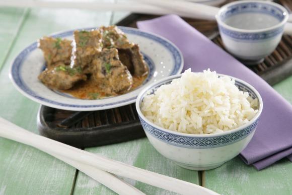 Receta de Estofado de vaca y coco con arroz thai