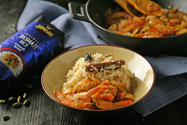 Receta de Arroz pilaf con curry de gambas