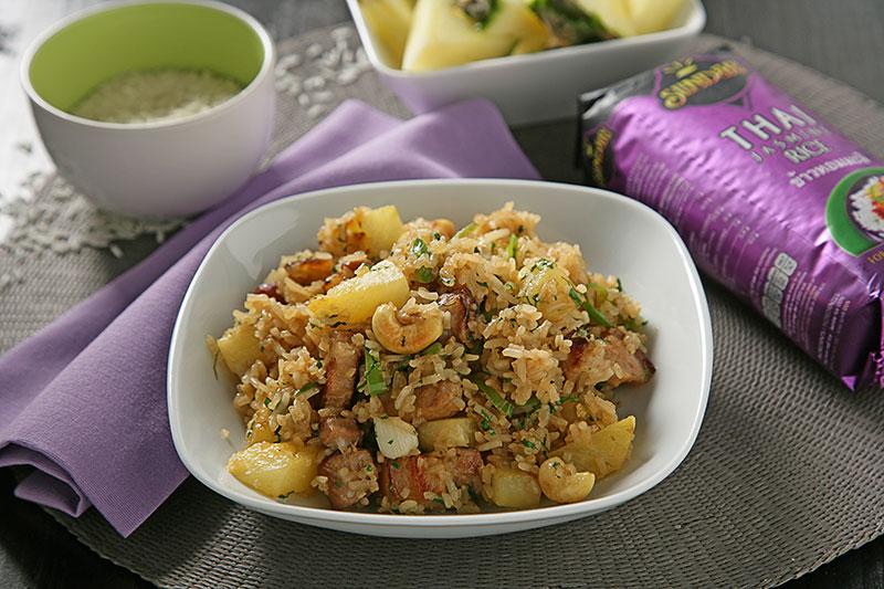Receta de Receta de Arroz Thai frito con piña