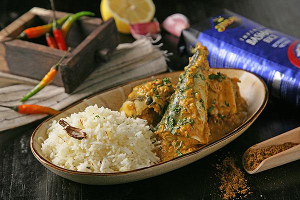 Receta de Curry de pescado y arroz basmati