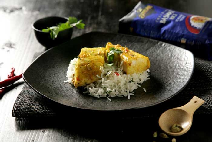 Receta de Perca macerada con arroz basmati