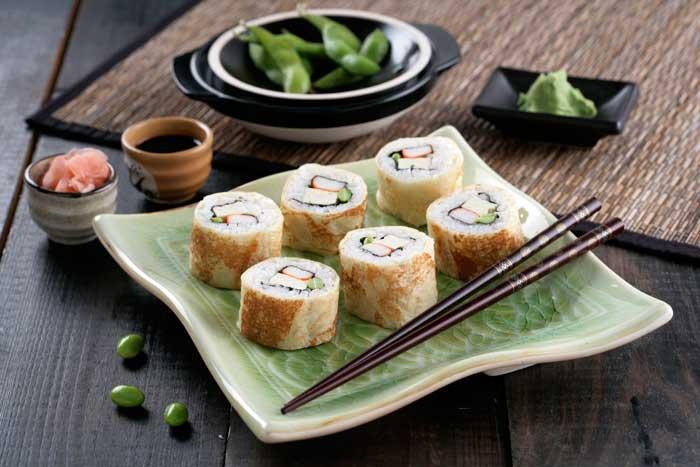 Receta de Maki crepes de habas de soja, tofu y surimi