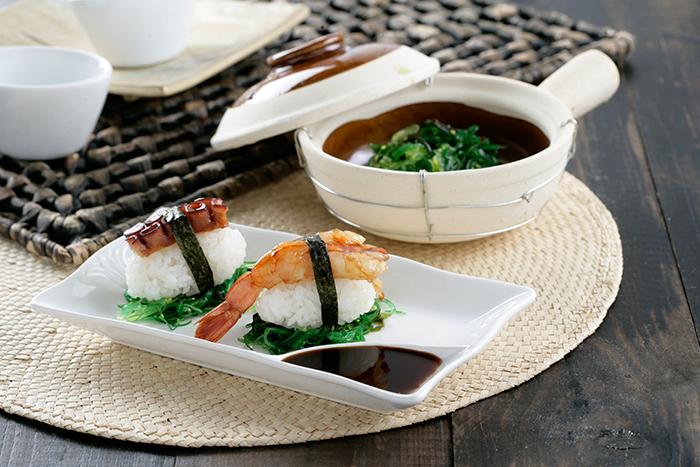 Receta de Niguiri de pulpo y gambón con salsa teriyaki