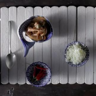 Receta de Gaeng kung con arroz Thai
