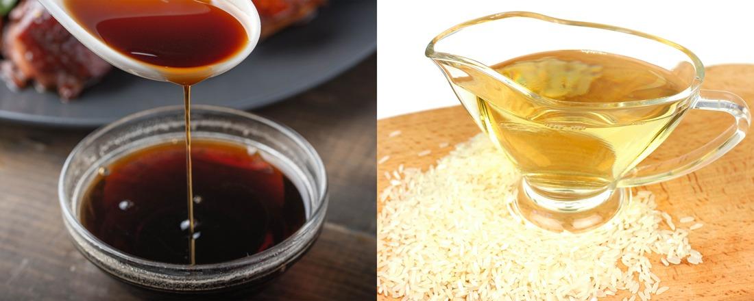 salsa de soja y vino de arroz